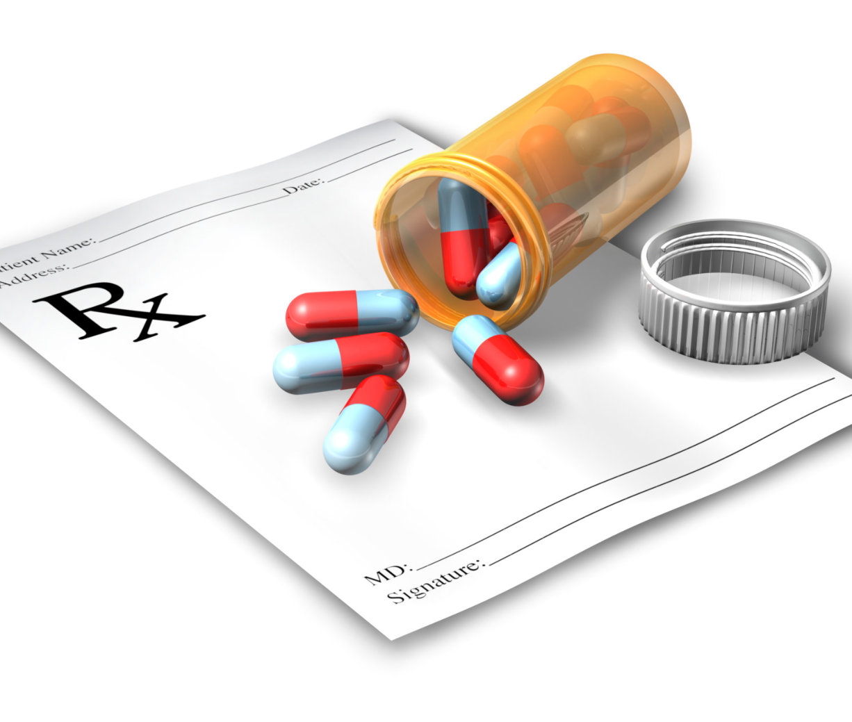 prescription paper and tablets